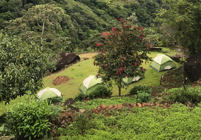 camping ground and tents in Knuckles mountains big picture